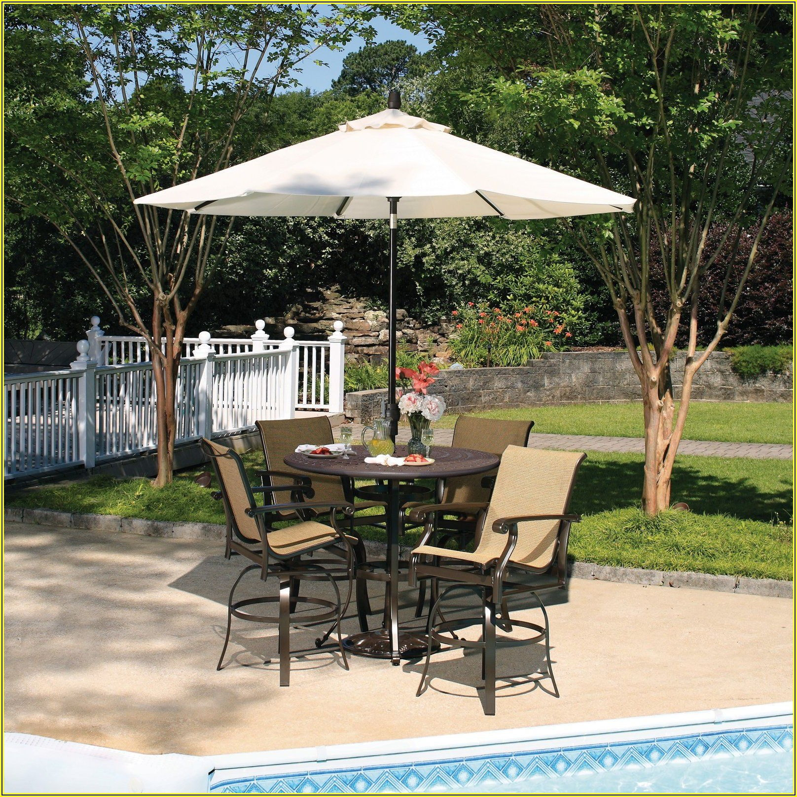 Patio Bar Set With Umbrella