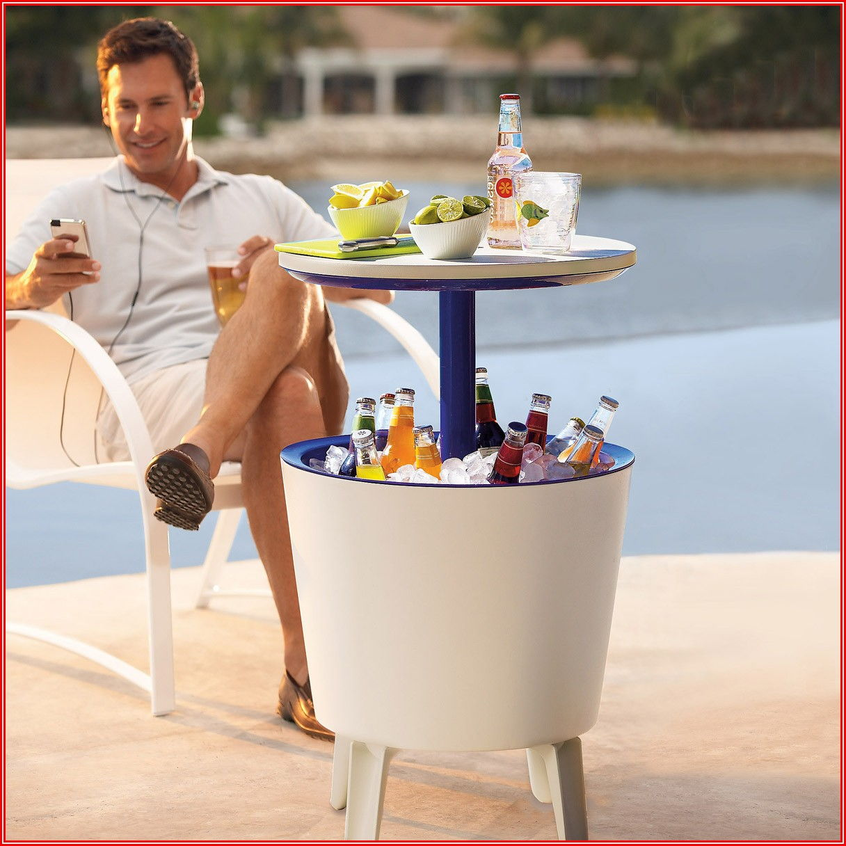 Patio Beverage Cooler Bar Table