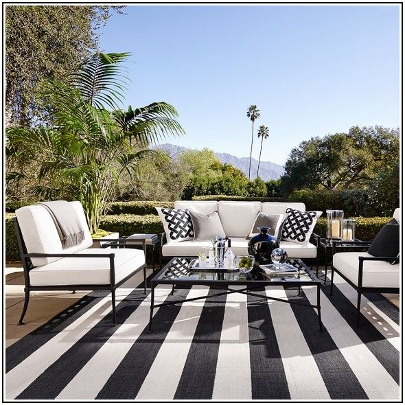 Patio Black And White Striped Outdoor Rug