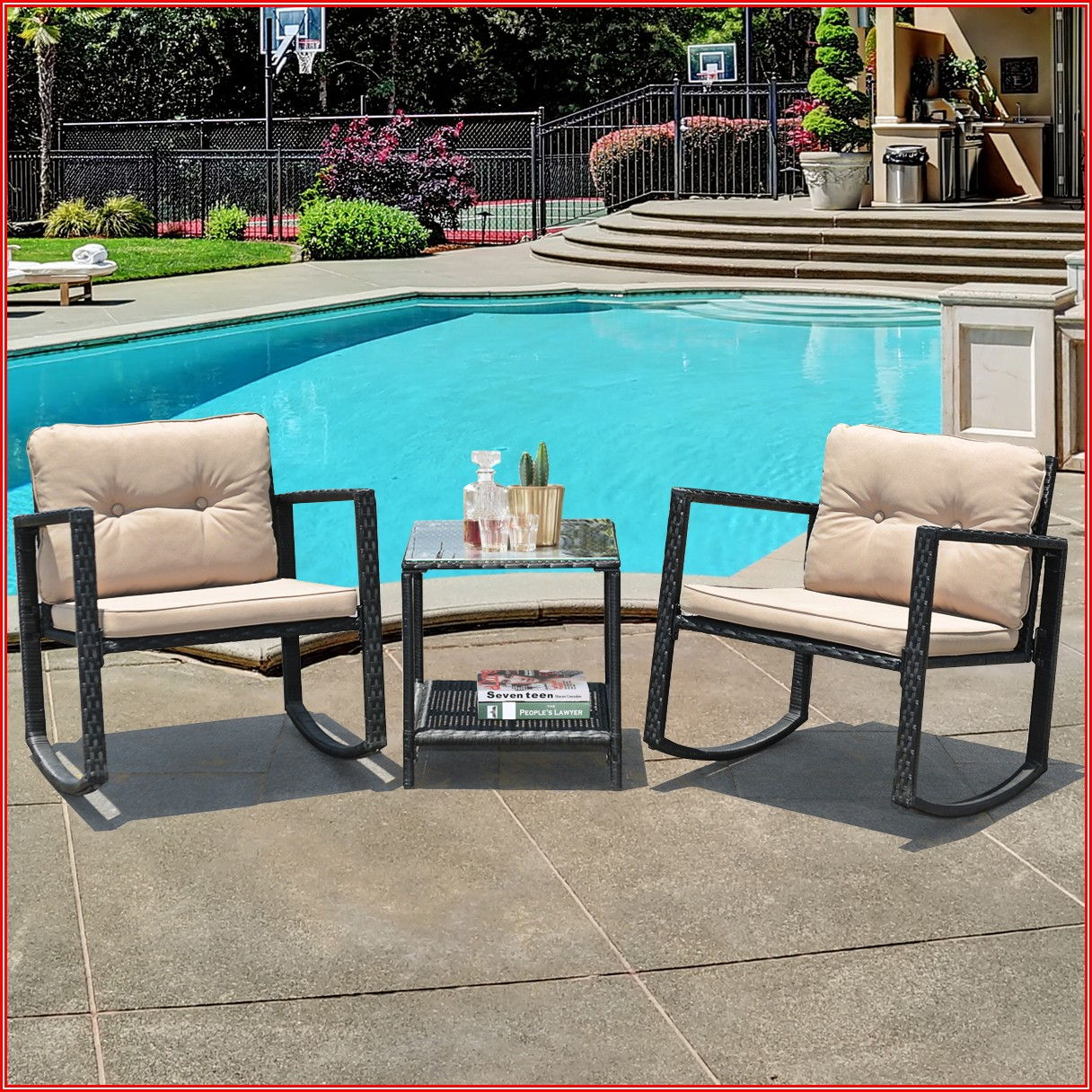 Patio Conversation Set With Rocking Chairs