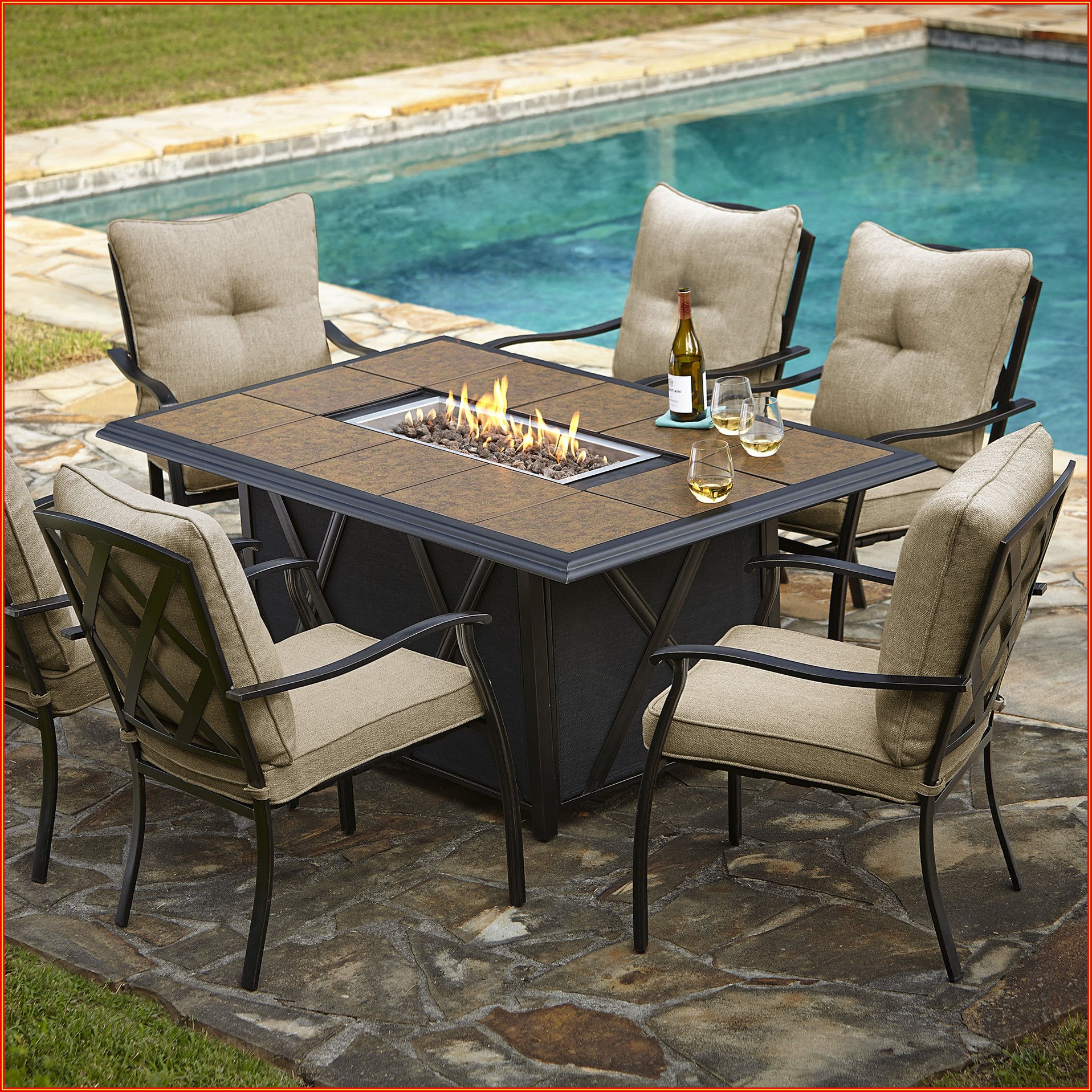 Patio Dining Set With Fire Table