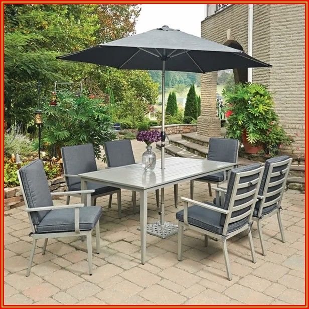 Patio Dining Set With Umbrella Seats 6