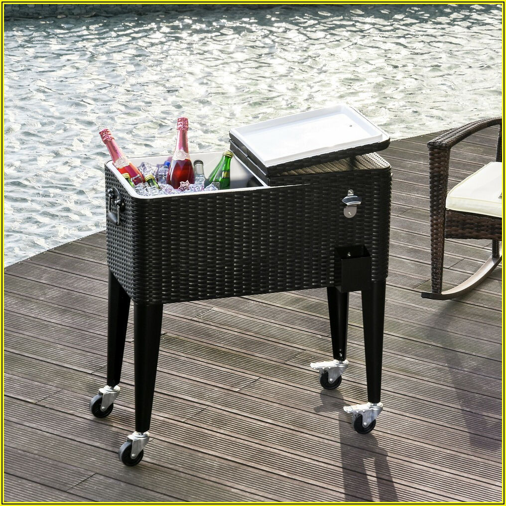 Patio Ice Cooler Beverage Cart