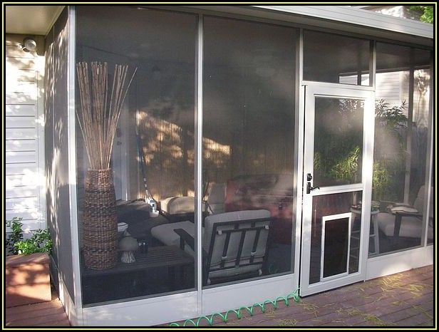 Patio Screen Door With Doggie Door
