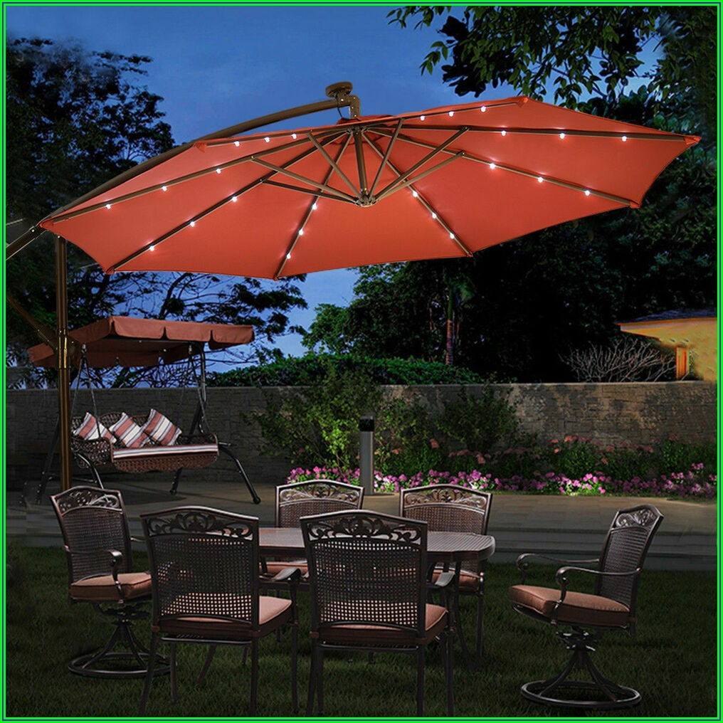 Patio Umbrella With Solar Lights And Base