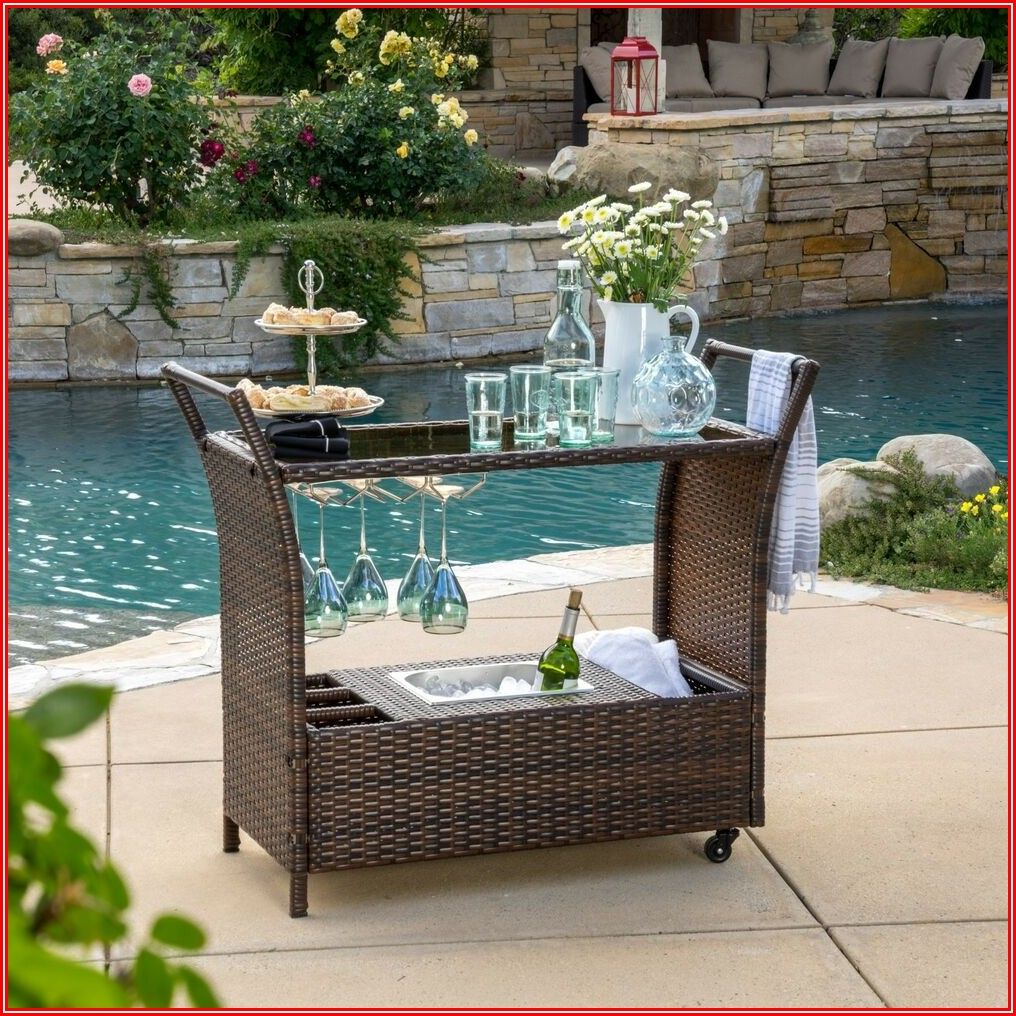 Portable Bar Cart Outdoor Patio Furniture