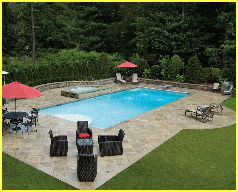 Rectangle Inground Pool Patio Ideas