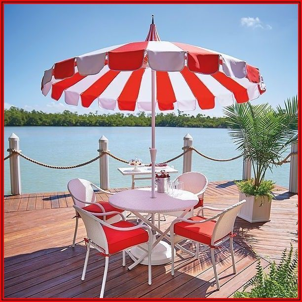 Red And White Striped Patio Umbrella