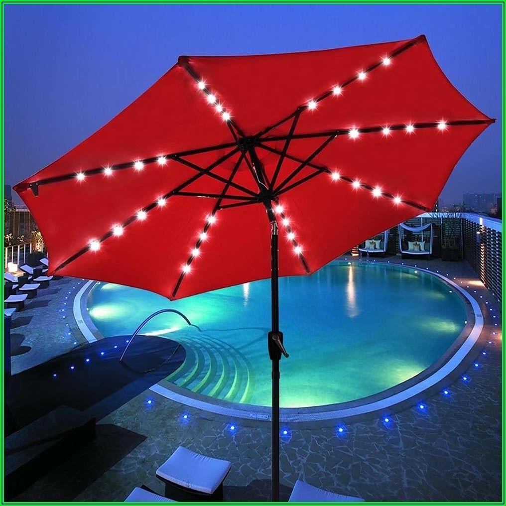 Red Lighted Patio Umbrella