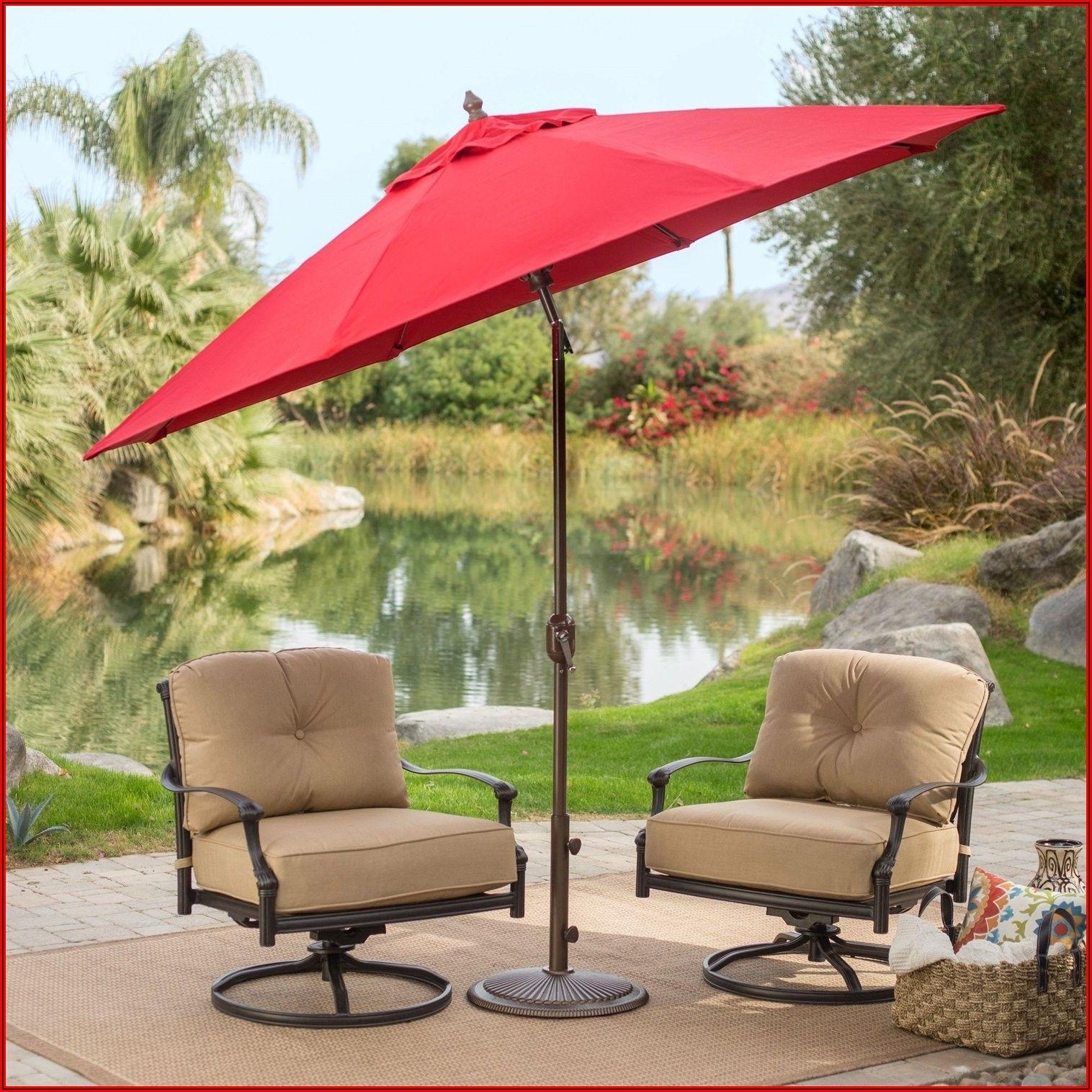 Red Patio Umbrella With Black Pole