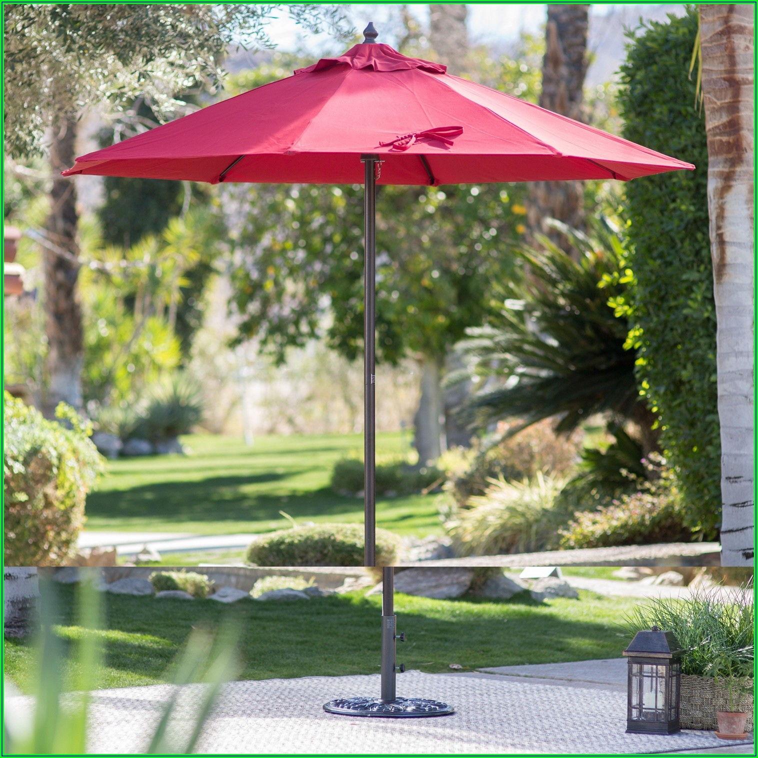Red Patio Umbrella With White Pole