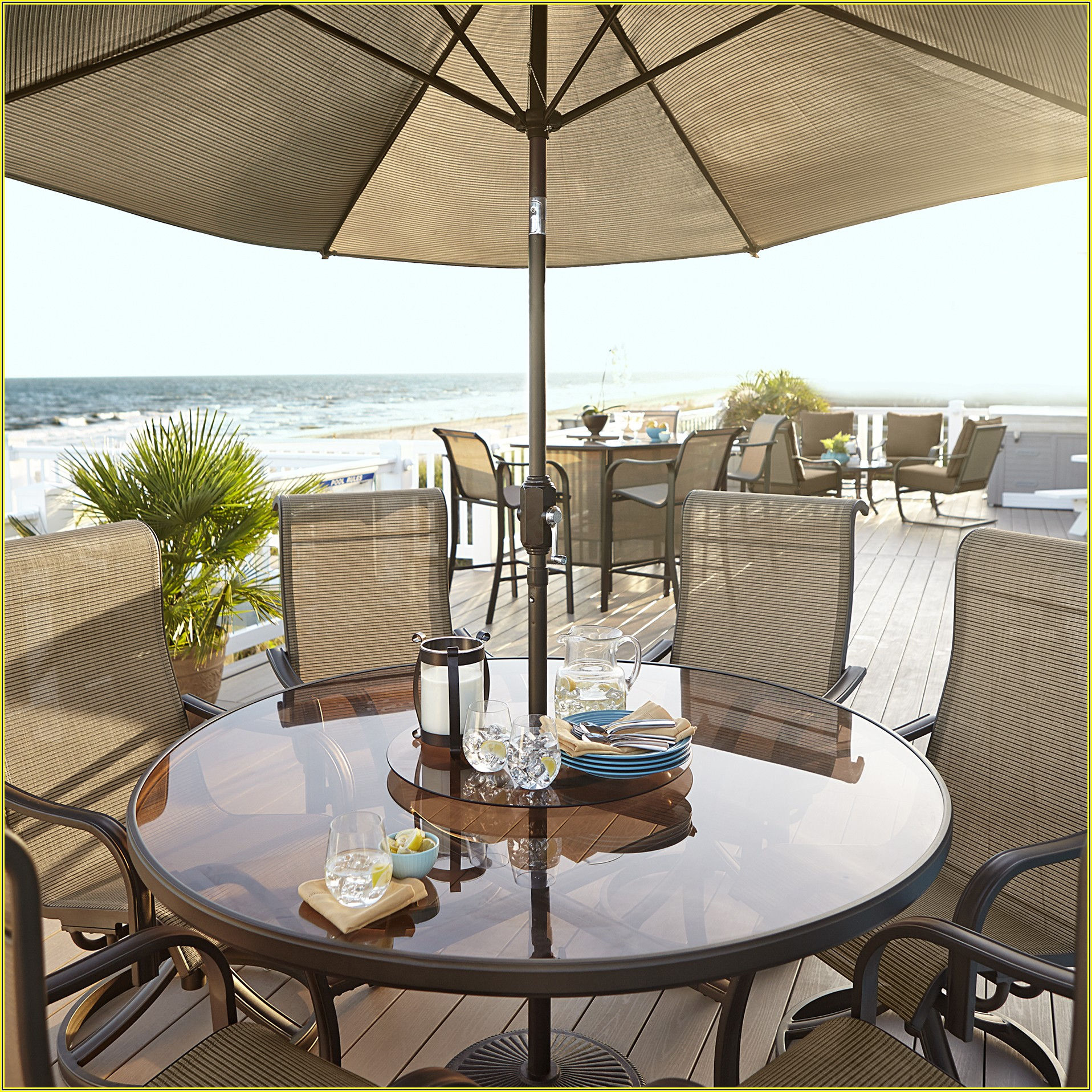 Round Glass Patio Table With Lazy Susan