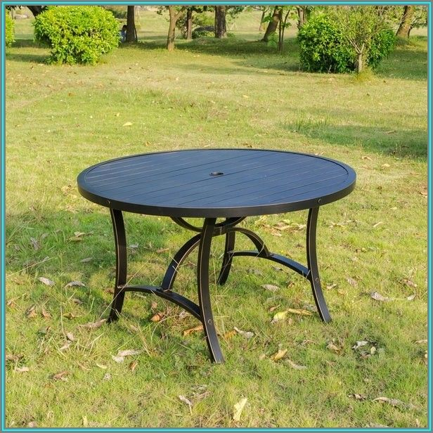 Round Metal Patio Dining Table