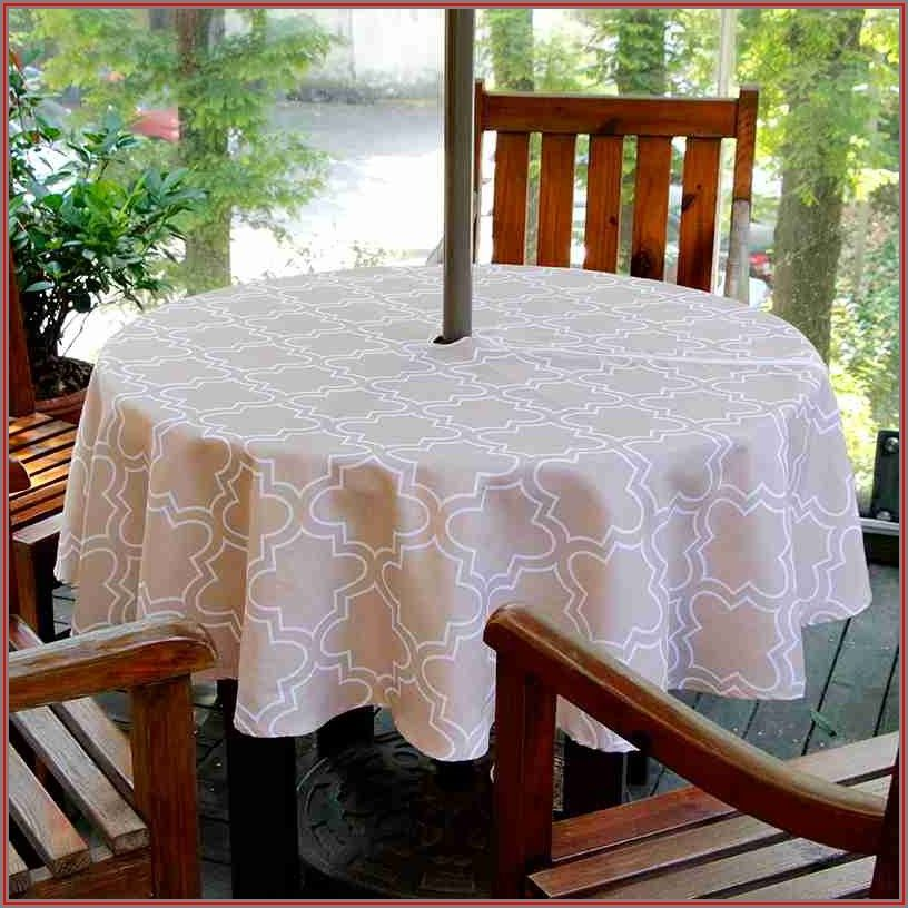 Round Patio Tablecloth With Umbrella Hole