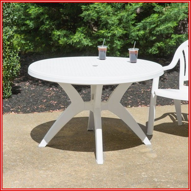 Round Resin Patio Table With Umbrella Hole