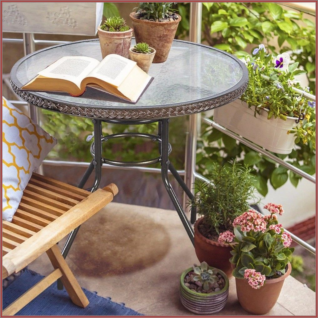 Round Tempered Glass Patio Table And Chairs