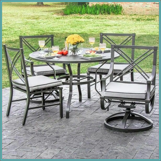 Set Of 4 Swivel Patio Chairs
