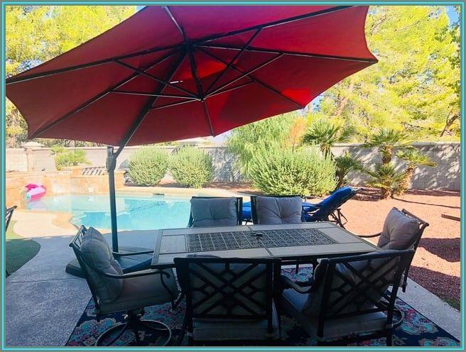 Simply Shade Red Offset Patio Umbrella