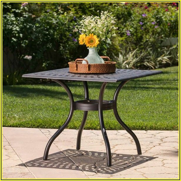 Square Metal Patio Table With Umbrella Hole