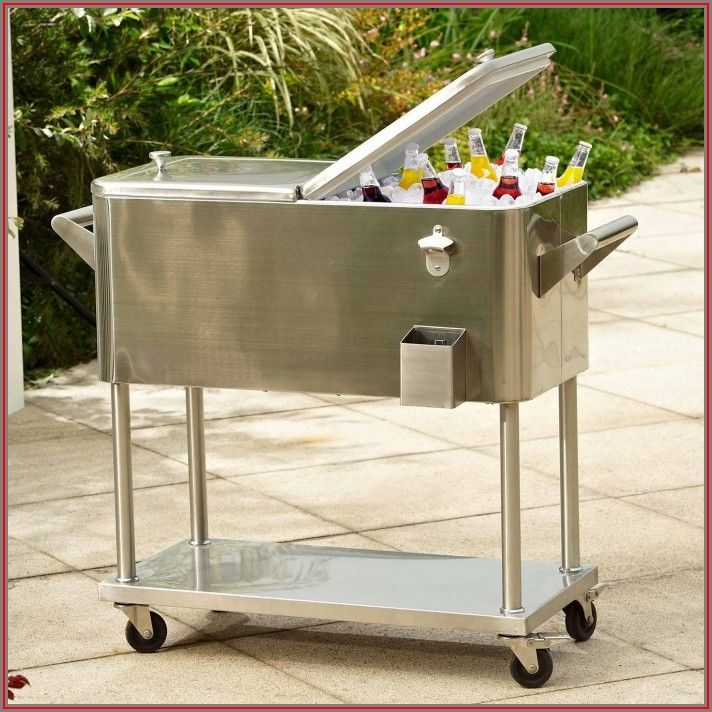 Stainless Steel Patio Cooler On Wheels