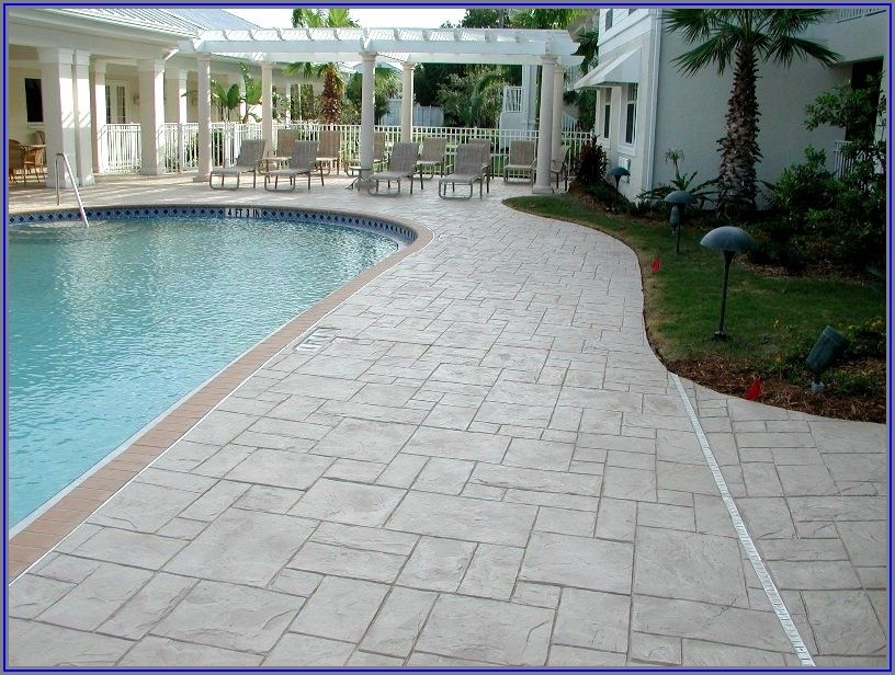 Stamped Concrete Patio Around Pool