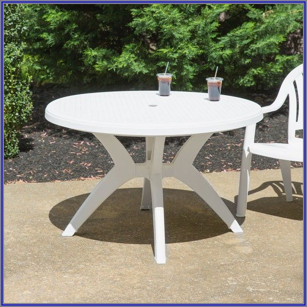 White Patio Table With Umbrella Hole