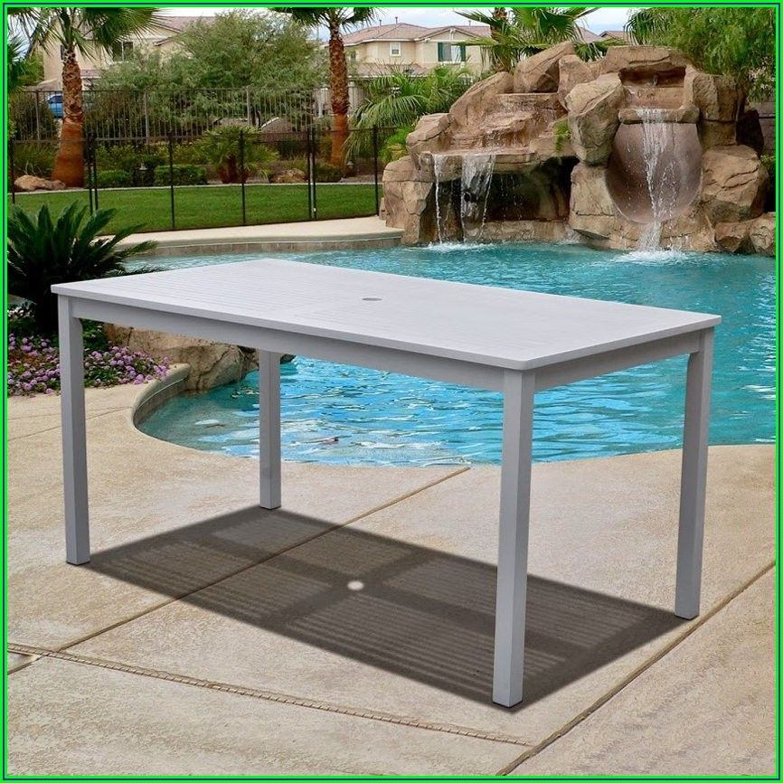 White Rectangle Patio Table