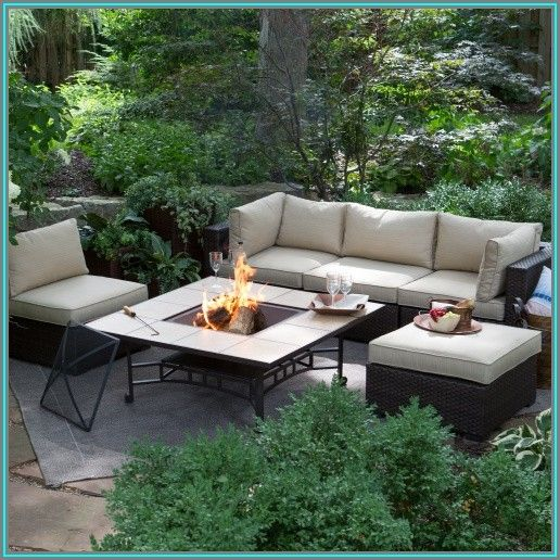 Wicker Patio Set With Fire Pit Table