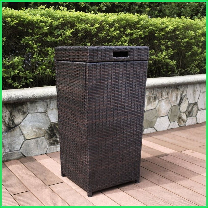 Wicker Patio Trash Can