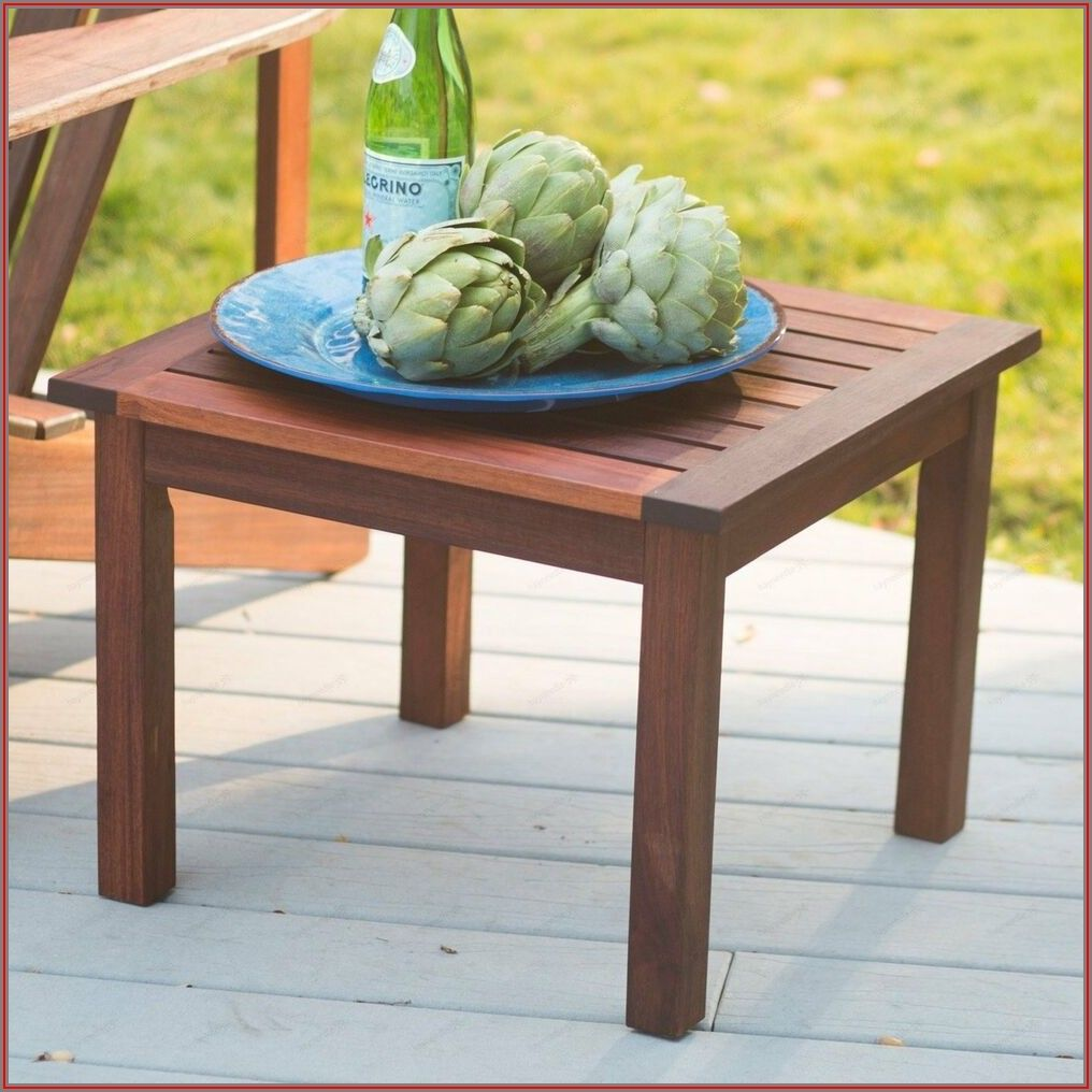 Wood Patio Side Table