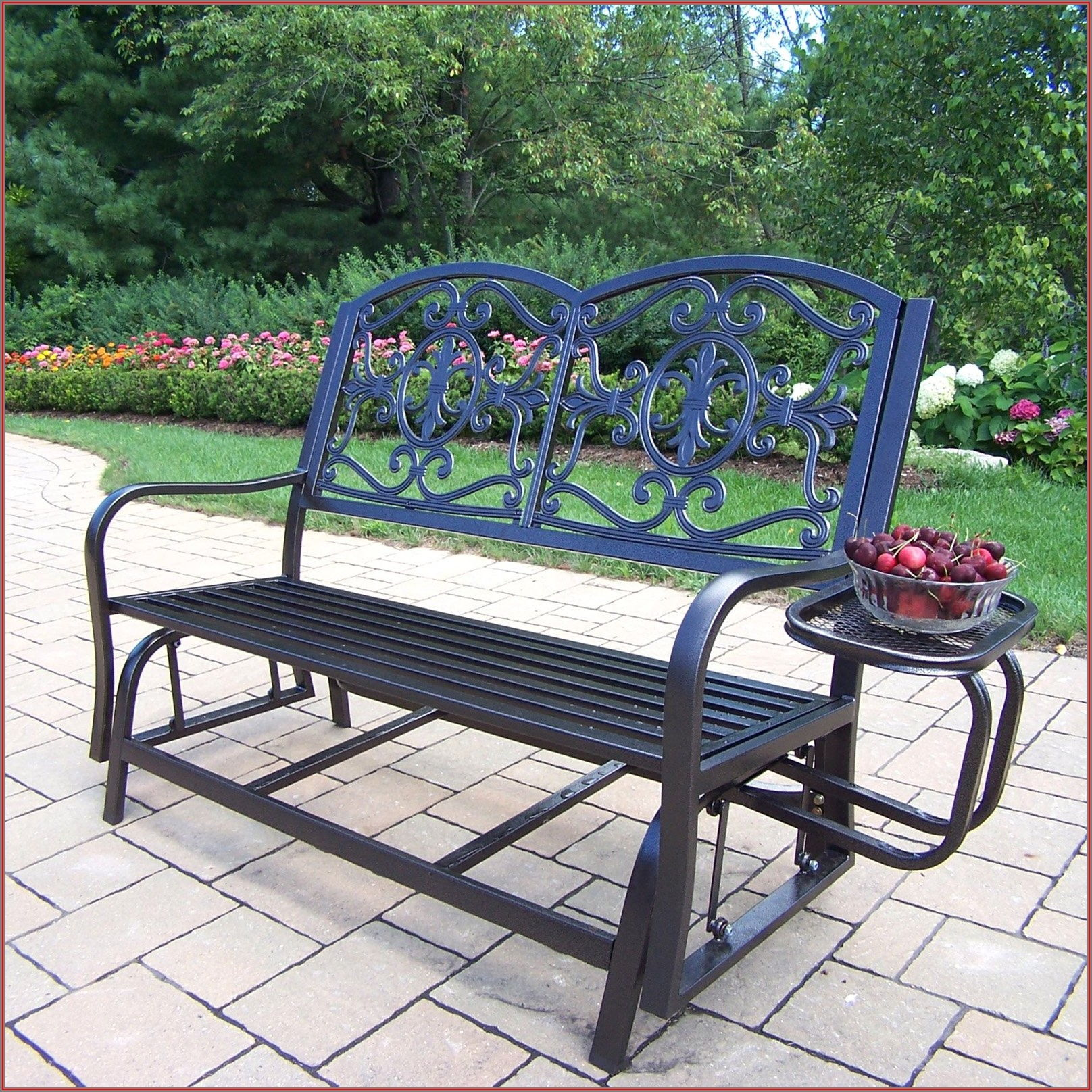 Wrought Iron Patio Glider Bench