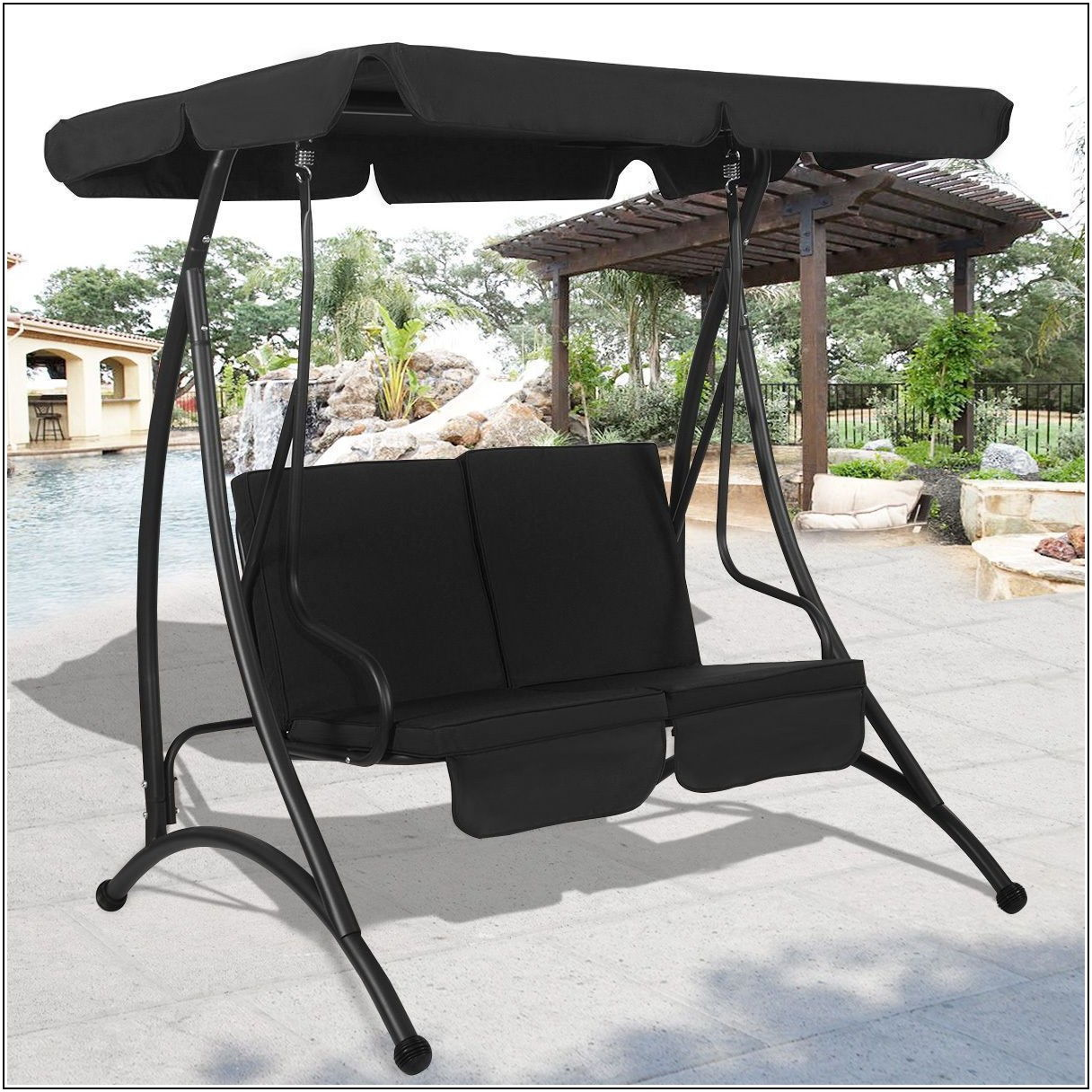 2 Person Patio Swing With Cup Holder