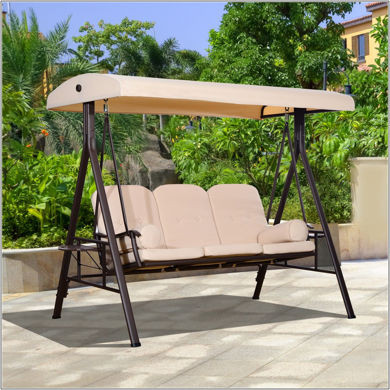 3 Person Cushioned Patio Swing With Canopy