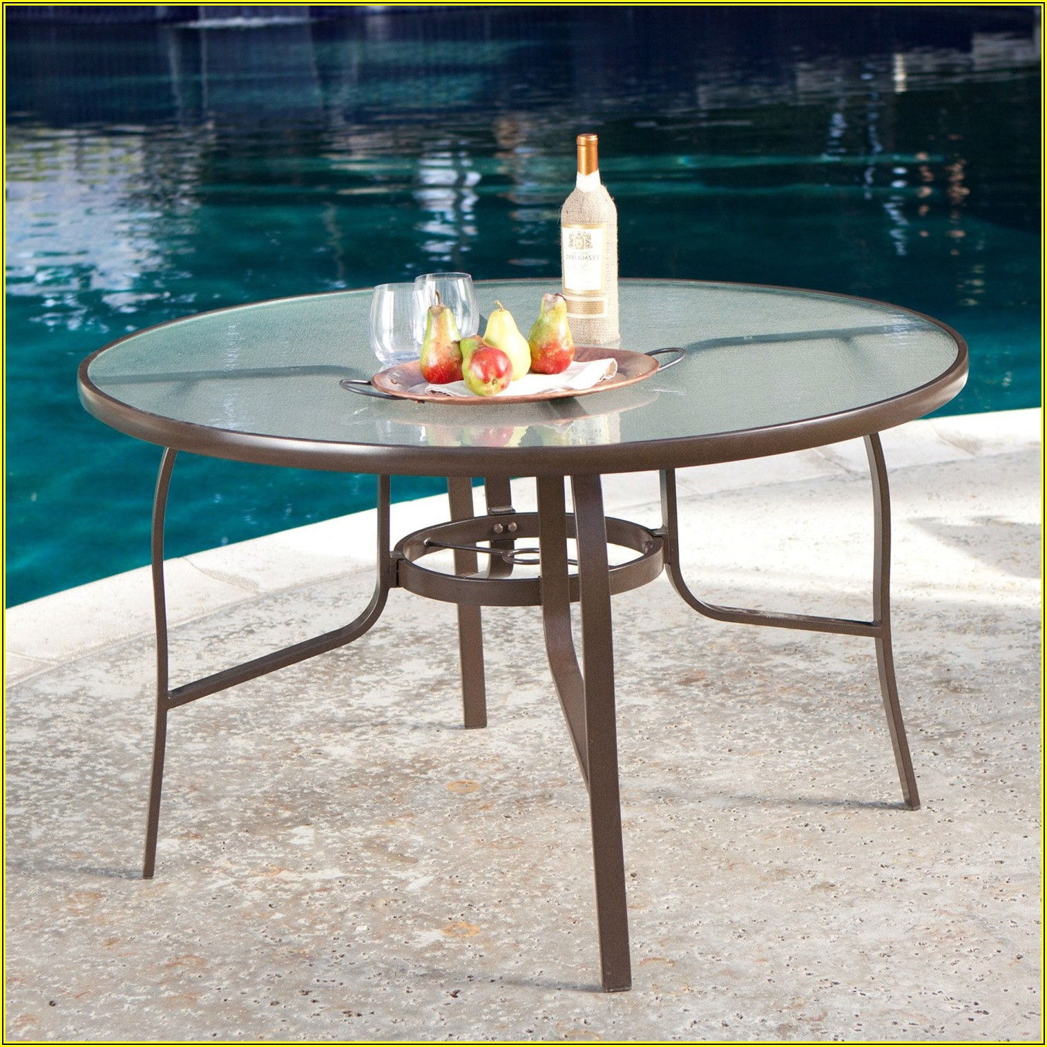 48 Inch Round Glass Patio Table