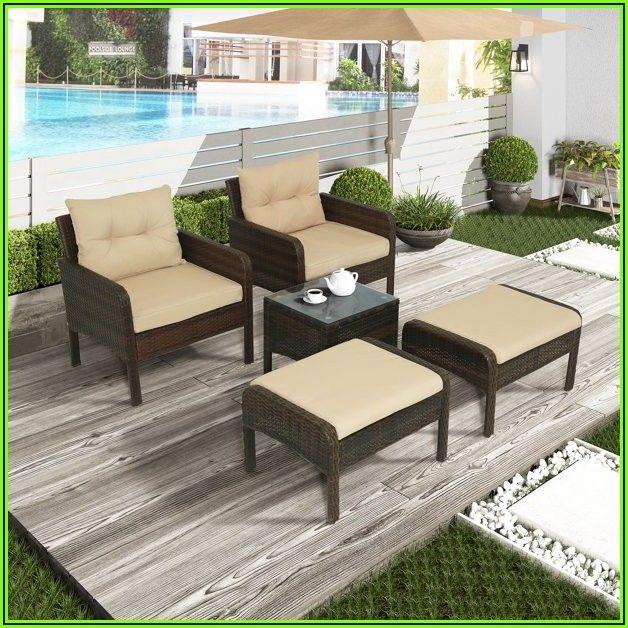 5 Piece Wicker Patio Conversation Furniture Set