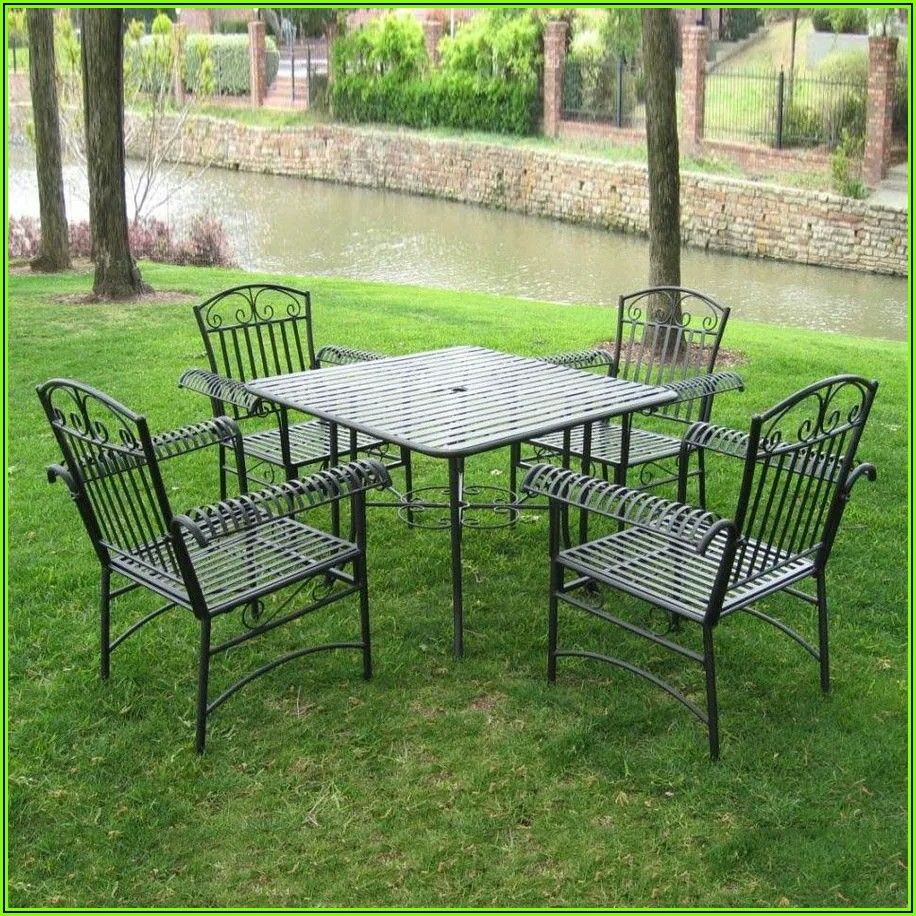 5 Piece Wrought Iron Patio Dining Set