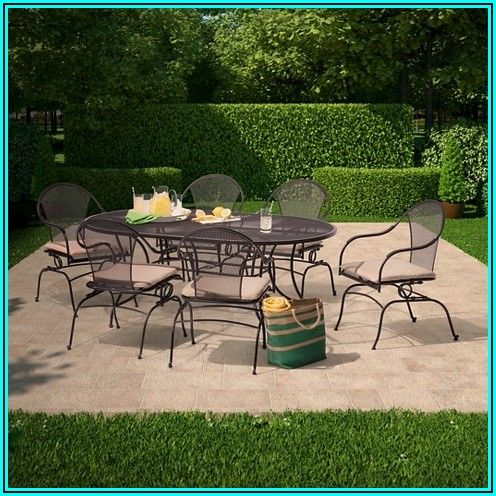 7 Piece Wrought Iron Patio Dining Set