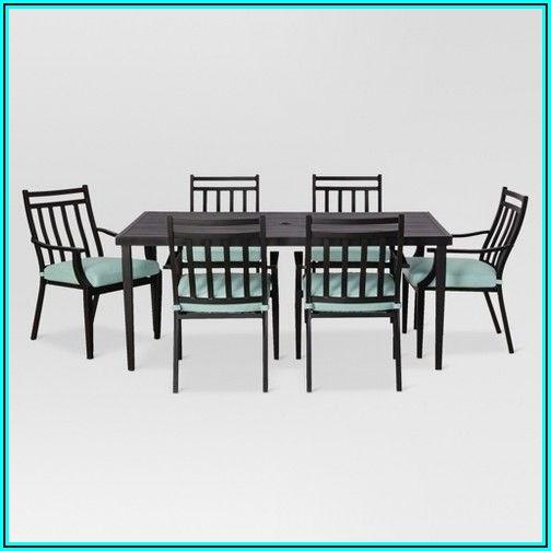 7pc Metal Folding Patio Dining Set Aqua Room Essentials