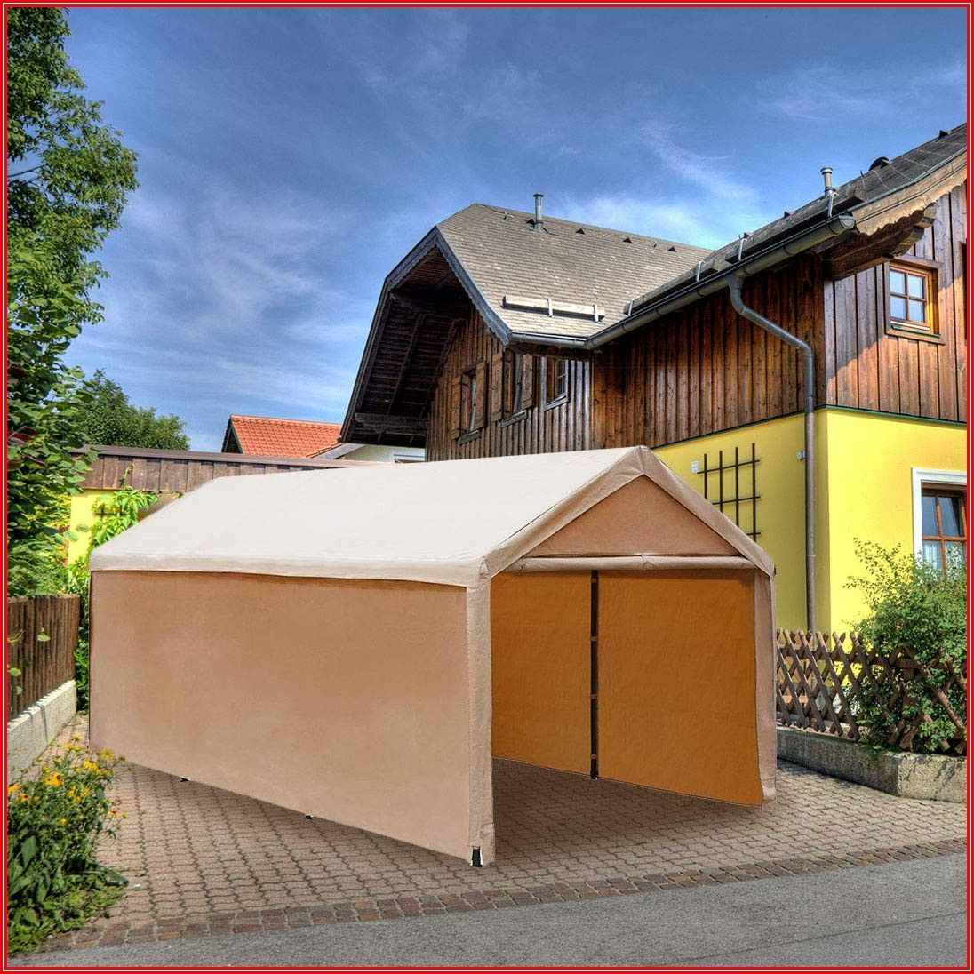 Abba Patio 10 X 20 Ft Heavy Duty Beige Carport