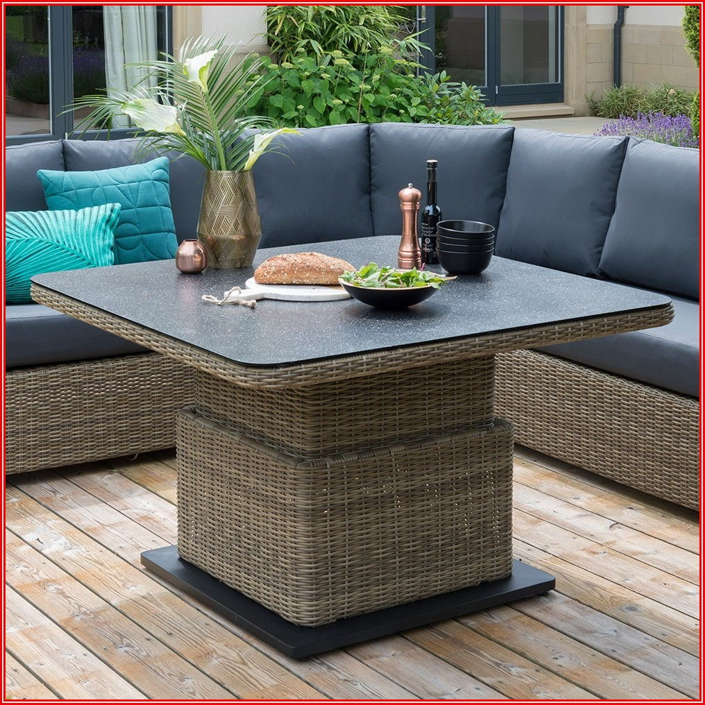 Adjustable Height Outdoor Patio Table