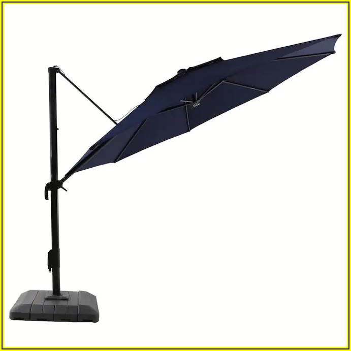 Allen Roth Offset Patio Umbrella With Base