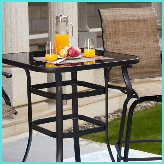 Bar Height Glass Patio Table