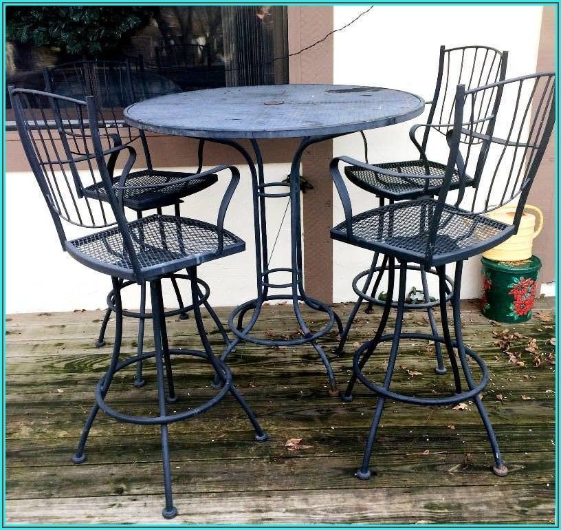 Bar Height Patio Table And Swivel Chairs