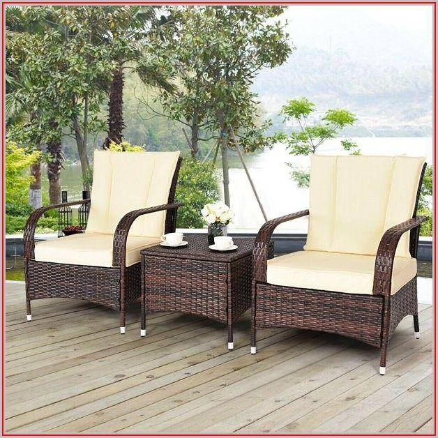 Beige Wicker Patio Furniture Set