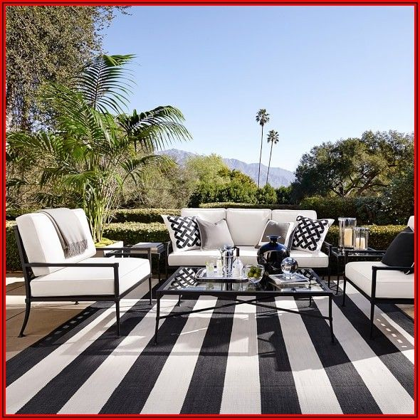 Black And White Striped Patio Rug
