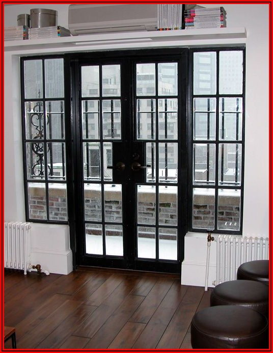 Black Metal Sliding Patio Doors