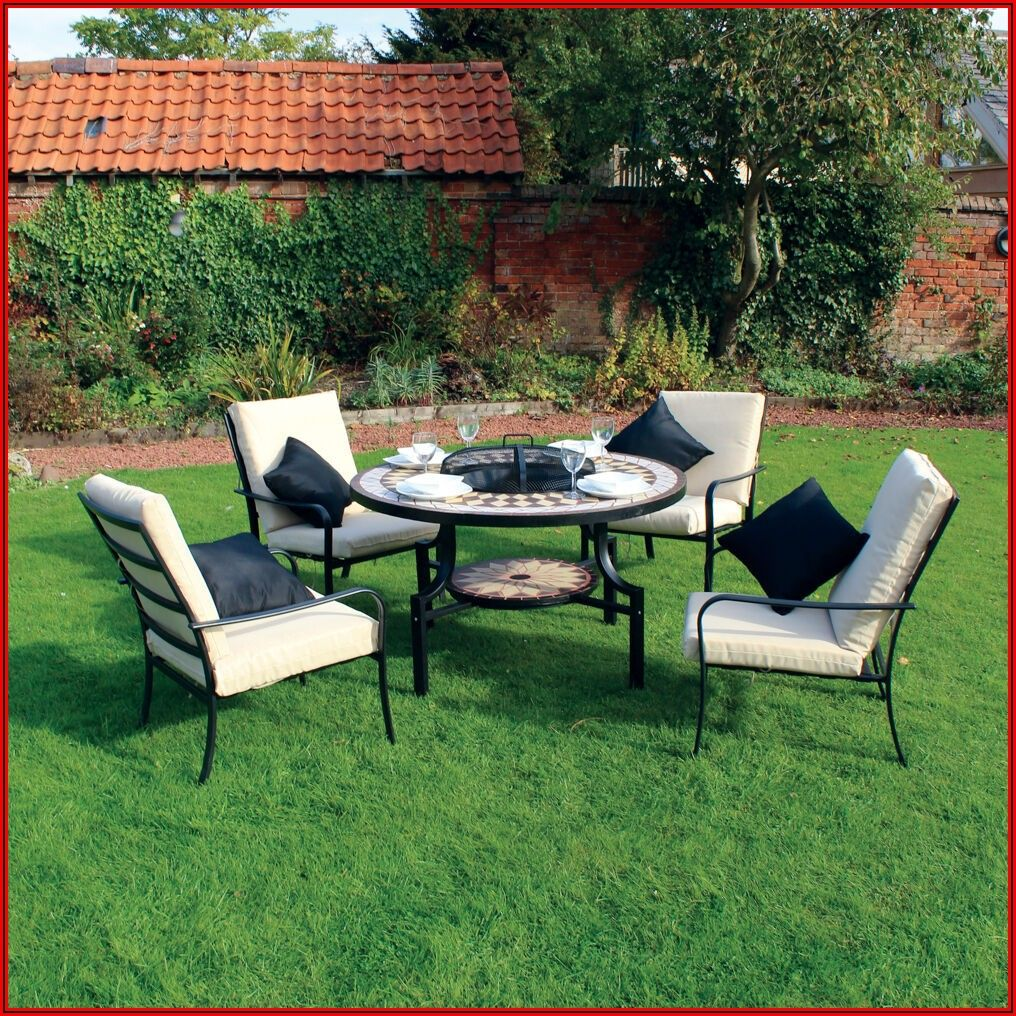 Black Patio Furniture Set With Fire Pit