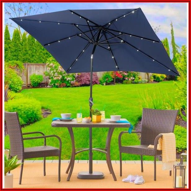 Black Rectangle Patio Umbrella With Light