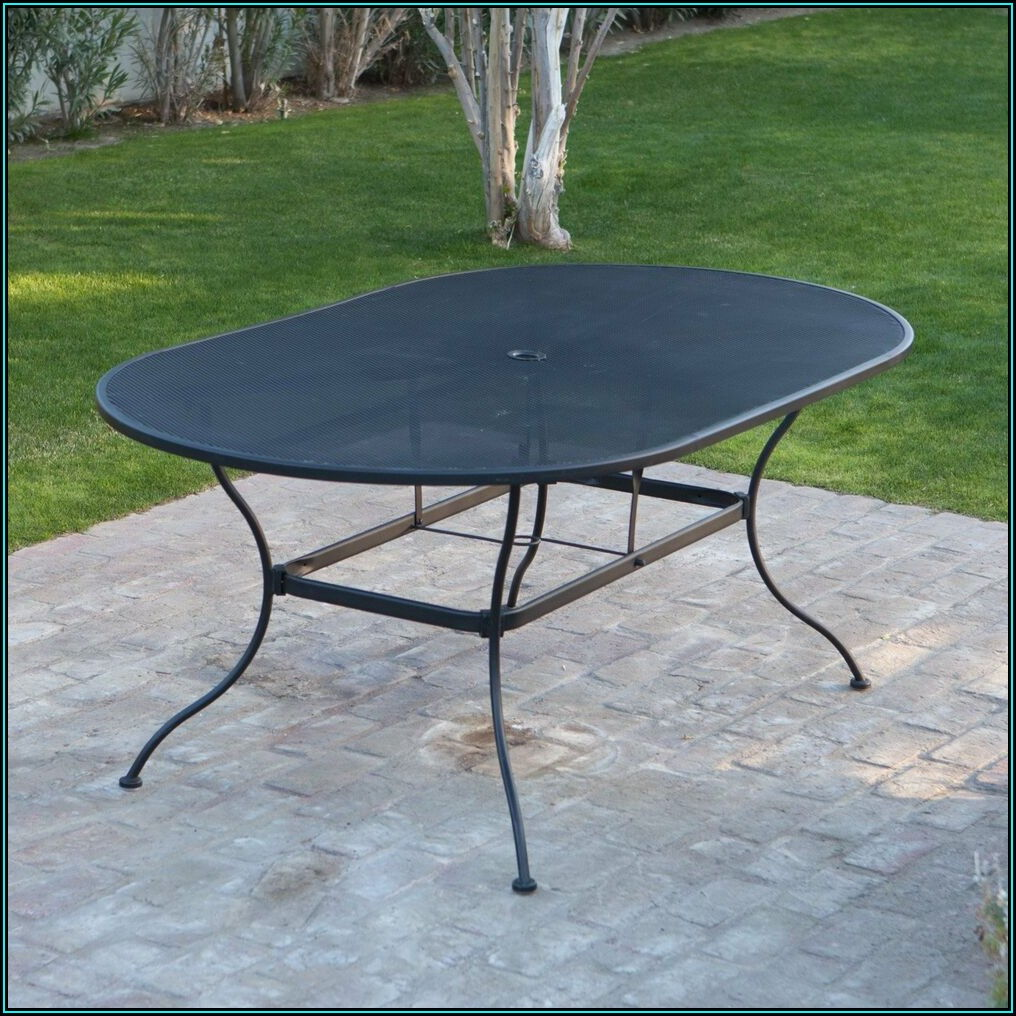 Black Steel Mesh Patio Table