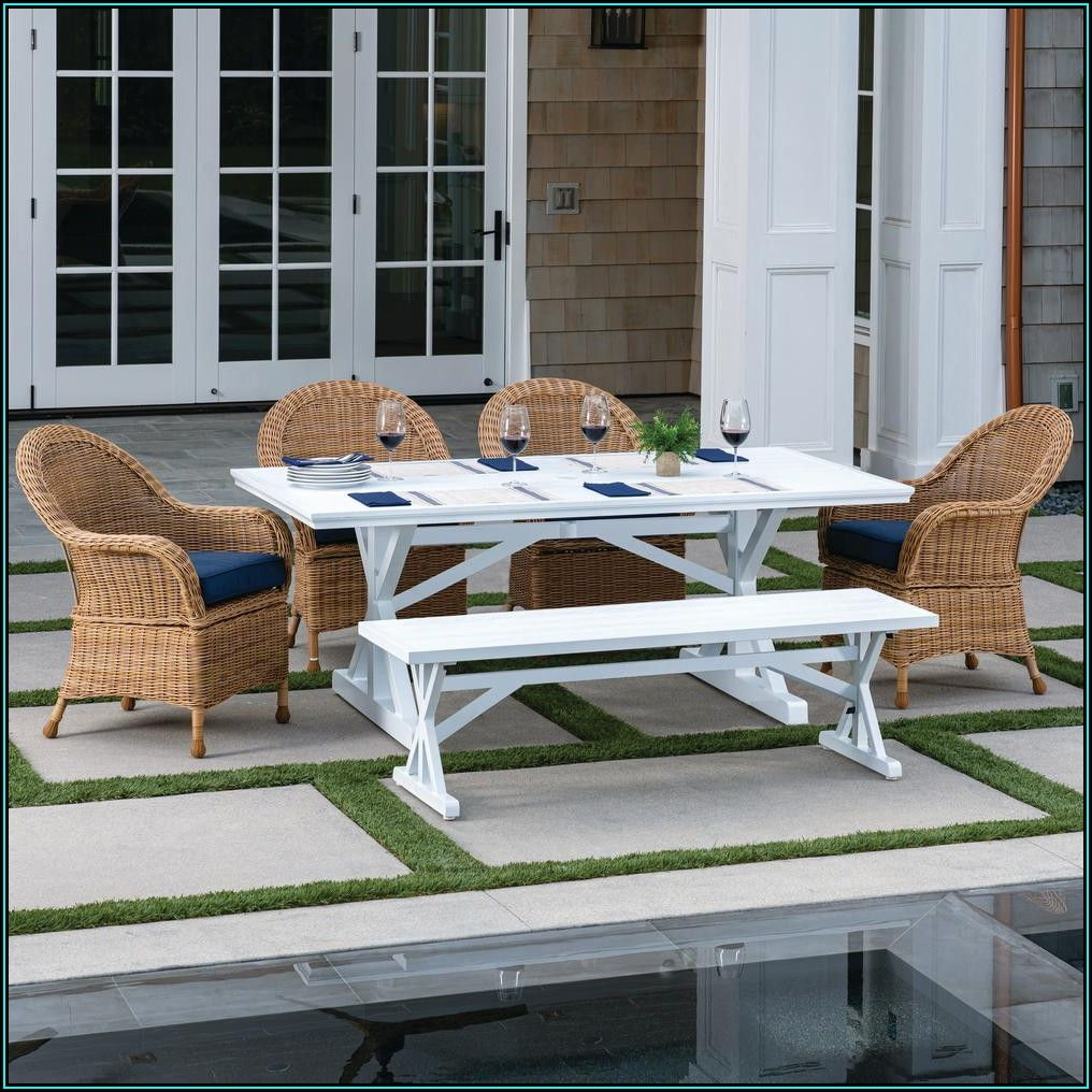 Blue And White Patio Dining Set